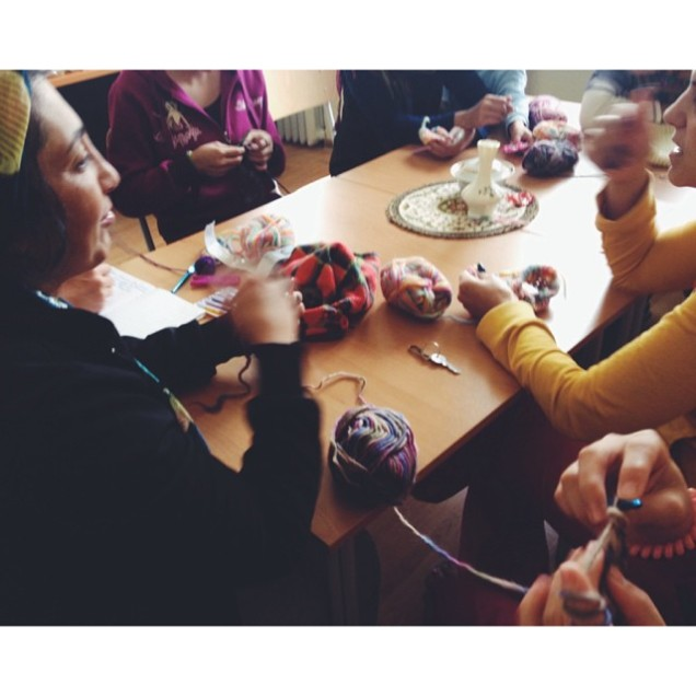 teaching crochet to some lovely students