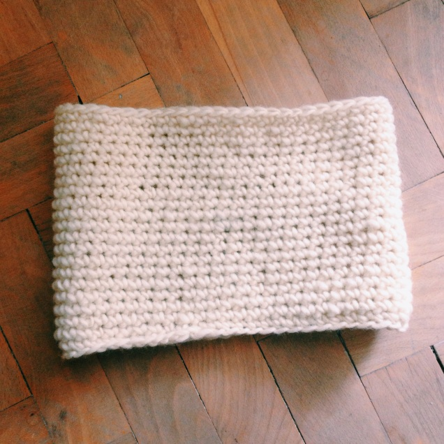 my first-time cowl project: Chain 54, join in the round, work single crochet until you're done :)