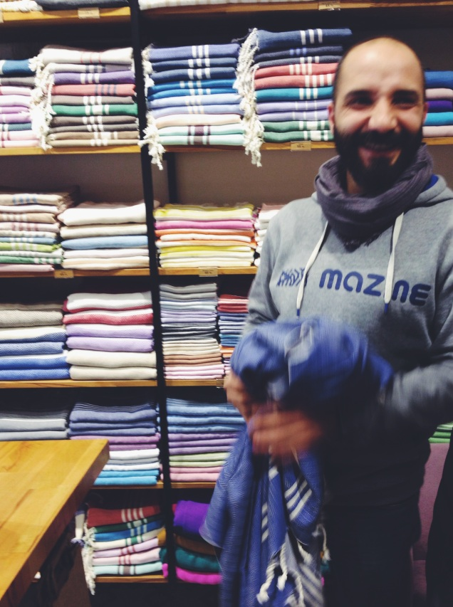 Öz, camera-shy but super-helpful, at Refik İpekçilik in Beyoğlu